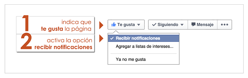 recibe notificaciones en facebook